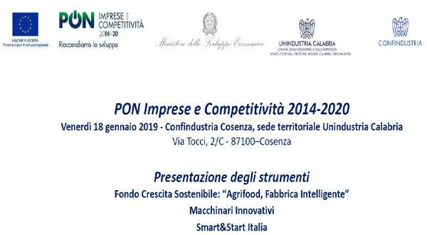 """Mise, Confindustria e Unindustria Calabria presentano bandi """"PON Imprese e Competitività 2014-2010"""""""