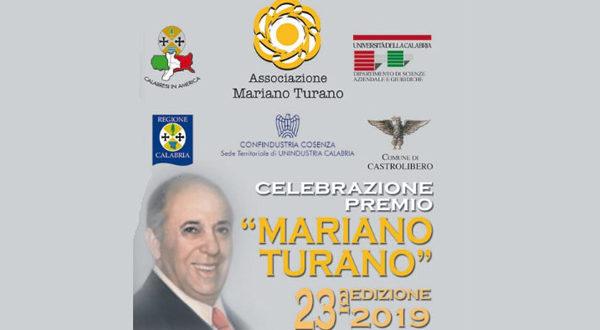 """XXIII edizione del Premio """"Mariano Turano"""", lunedì 15 luglio 2019 ore 10.30 all'Unical"""