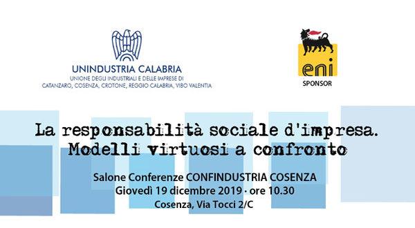 Unindustria Calabria ed Eni discutono di responsabilità sociale d'impresa. Seminario il 19 dicembre a Cosenza