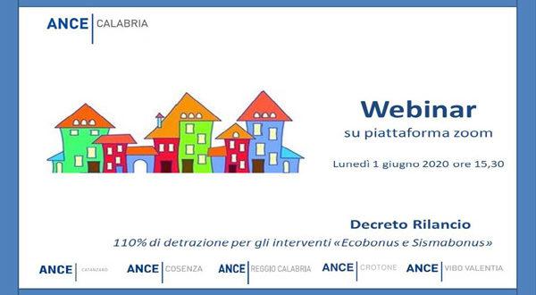 """Webinar """"DL Rilancio: 110% di detrazione per gli interventi di Ecobonus e Sismabonus"""" – lunedì 1 giugno ore 15:30"""